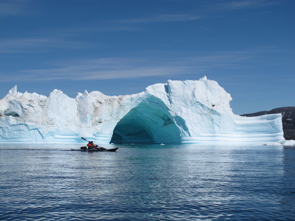 Tunnels in icebergs are a spectacular sight.