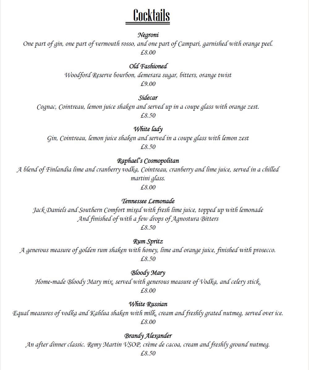 Raphael restaurant Cocktails page 1