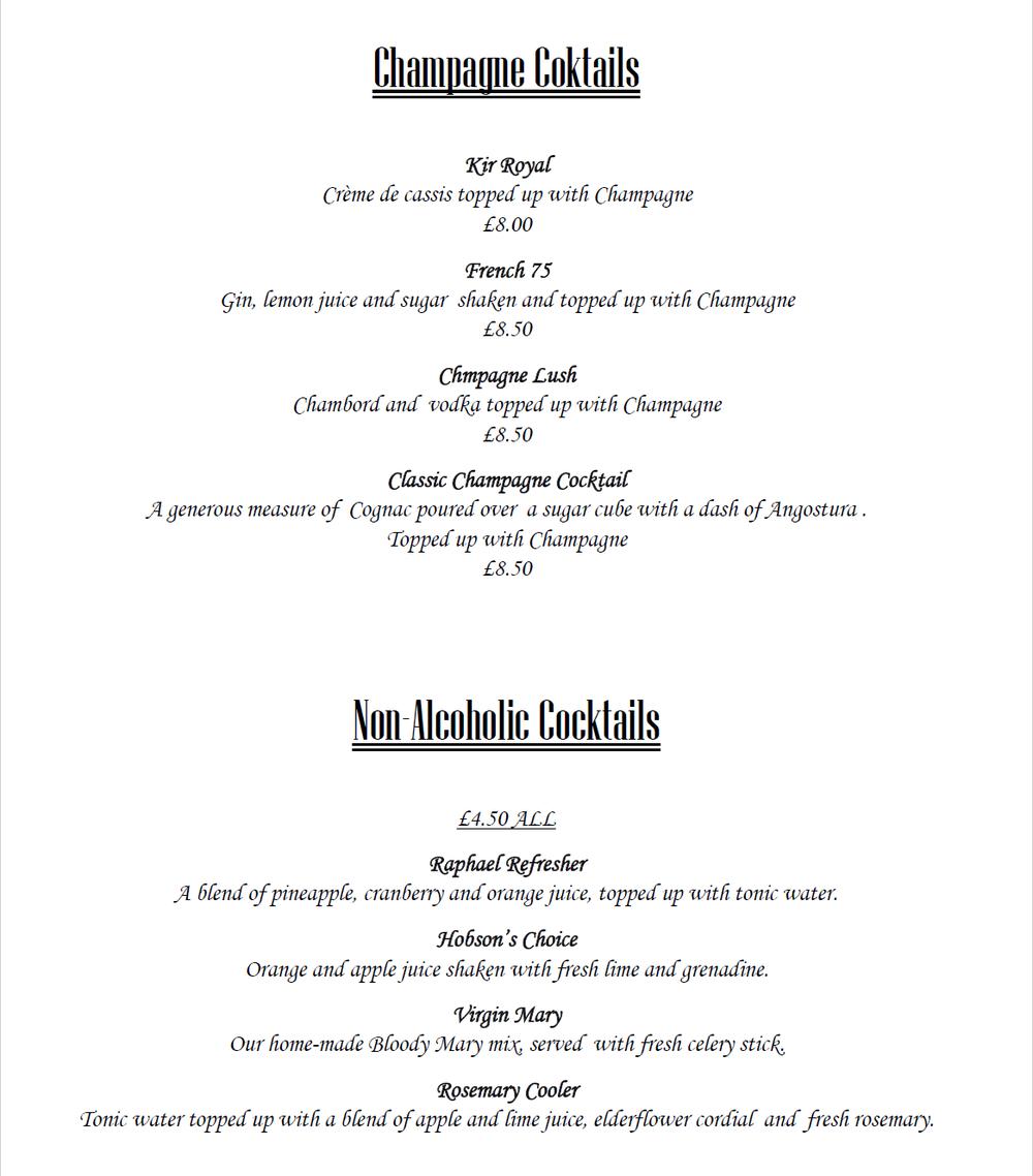 Raphael restaurant Cocktails page 2