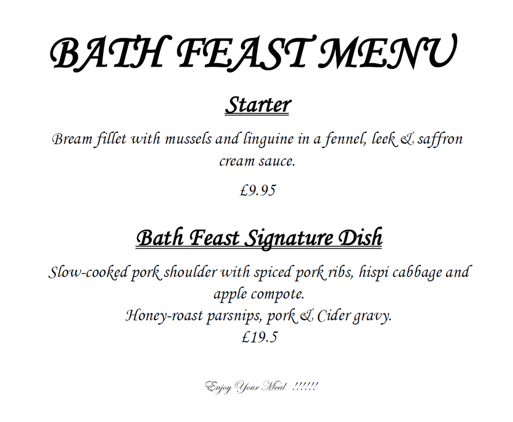 Raphael Great Bath Feast Menu