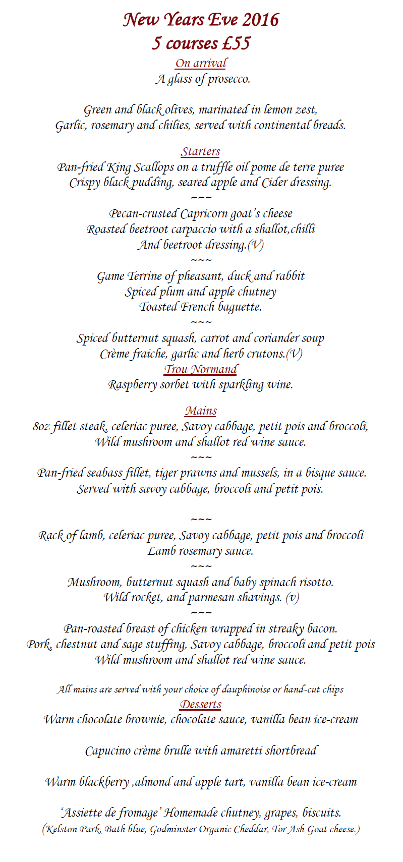 Raphael Restaurant New Years Eve Menu