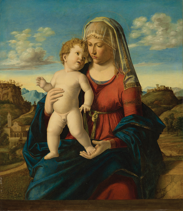Giovanni Battista Cima da Conegliano, Madonna and Child in a Landscape, circa 1496–99, oil on panel.