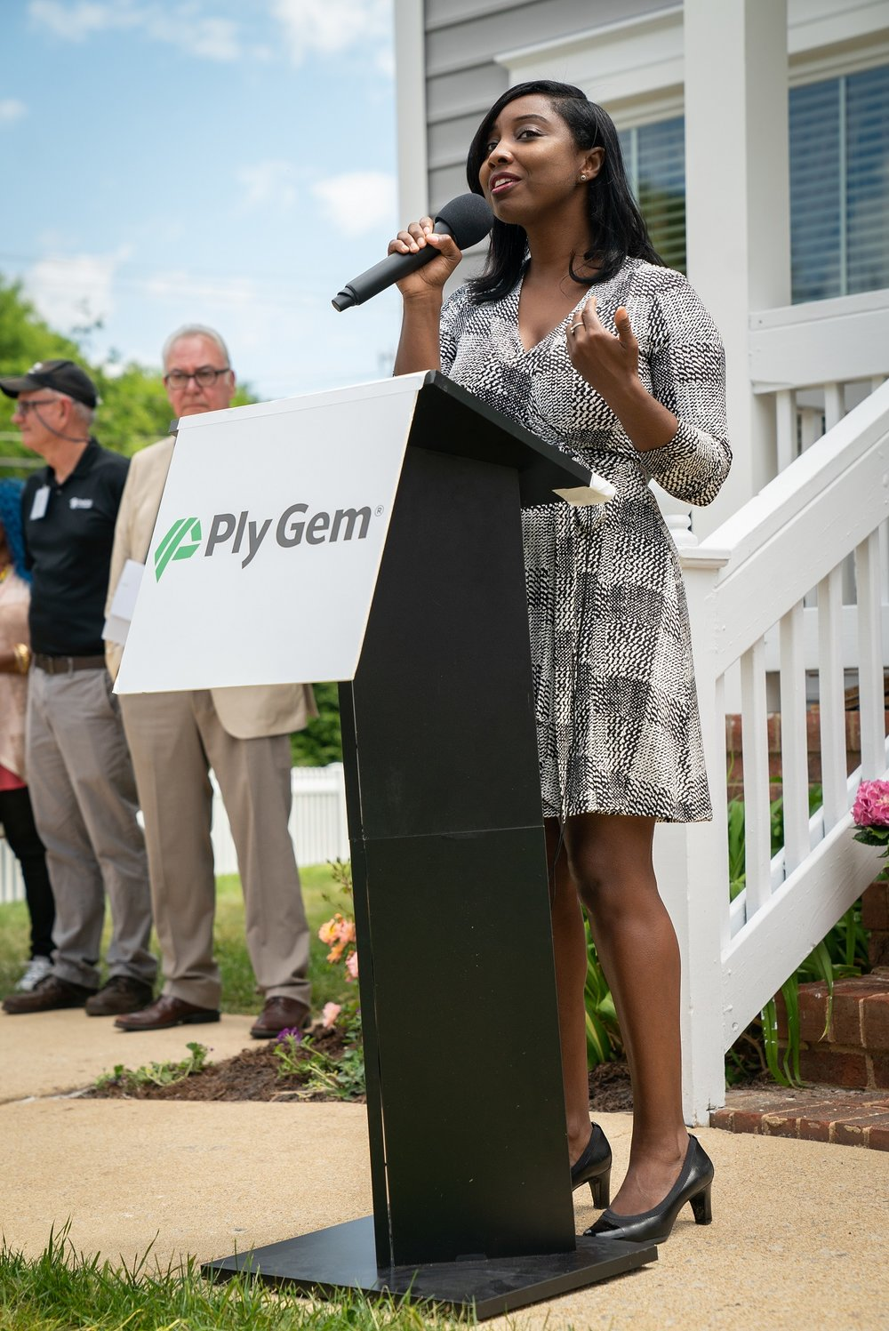 Wake County Board of Commissioners Chair, Jessica Holmes, addresses local media, community leaders, and build volunteers during the Ply Gem Home for Good project completion ceremony in Raleigh, on Tuesday, May 8th. Since 2016, Ply Gem, an exterior building products manufacturer based in cary, has helped build or remodel 450 homes nationwide.