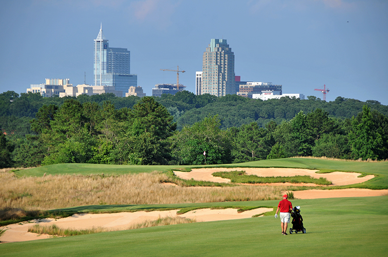 Lonnie Poole Golf Course, located just two miles from downtown Raleigh on N.C. State's Centennial Campus, is the only college course built by the Arnold Palmer Design Group, with heavy input from the late legend along with on-site development by N.C. State graduates and noted golf course architects Erik Larsen and Brandon Johnson.