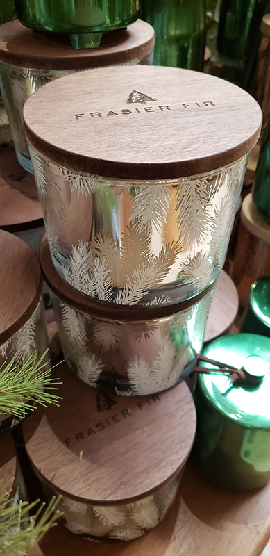 Thymes frasier fir candle, $32; assorted candles, $6–$60;  Homewood Nursery & Garden Center  10809 Honeycutt Rd; homewoodnursery.com