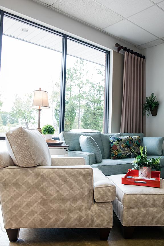 Ottoman (09) in P/K Lifestyles Belgian linen fabric, $450; Chair (450) in P/K Lifestyles Belgian linen fabric, $950;  dexter furniture  8411 Glenwood Ave #101; dexterfurniture.com