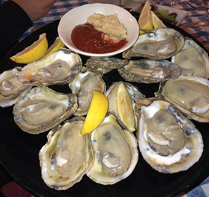 angus barn  Oysters on the half shell