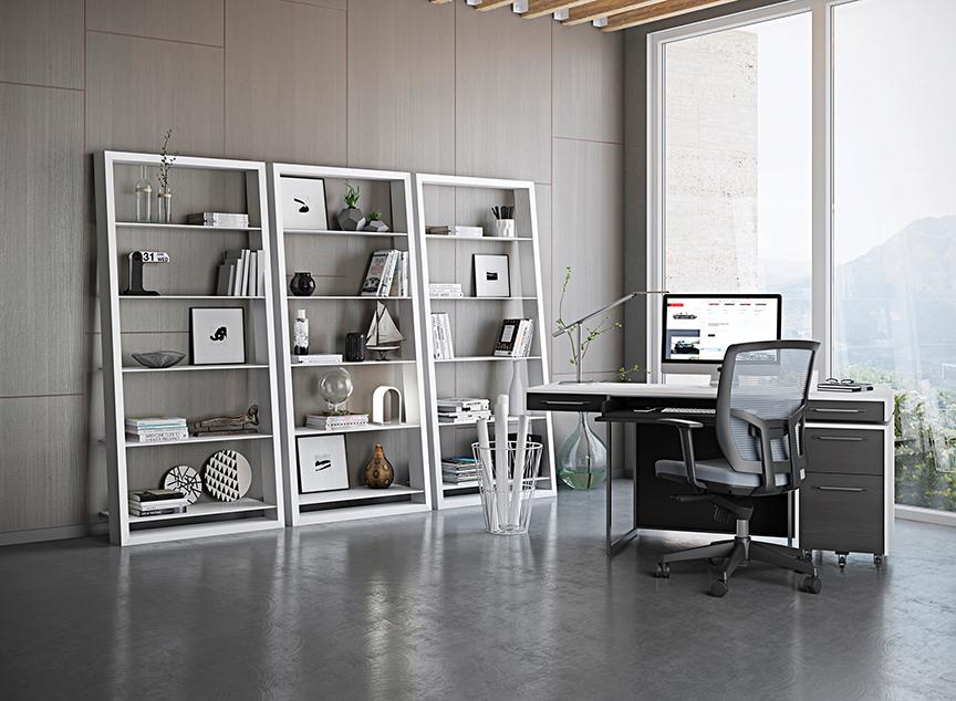 BDI Eileen Blanc shelves, $799 each | Ambiente