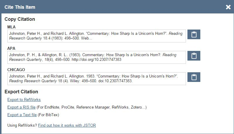 The MLA International Bibliography and JSTOR