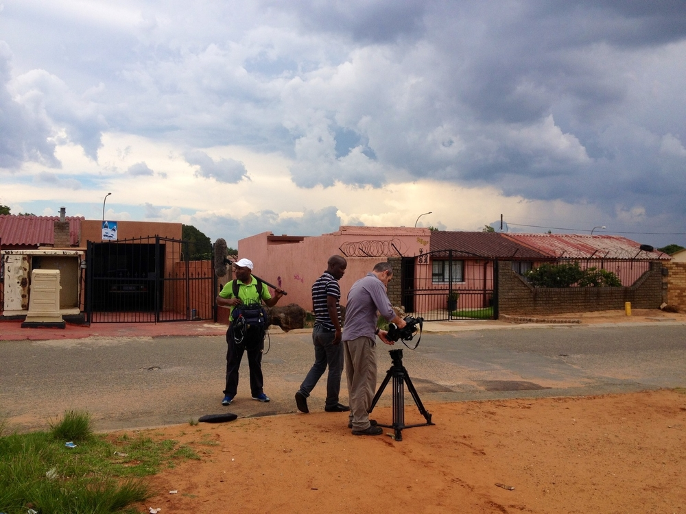 Naashon Zalk and crew filming in Soweto November 2012