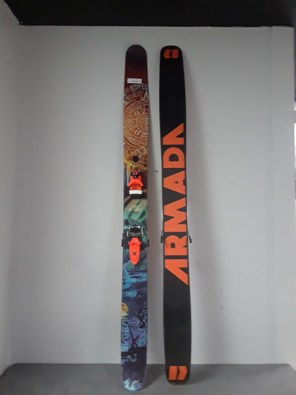 If you've already been dreaming of the deep days, the really deep days, here's your ski. The 188 Armada Bubba 133 with Rossi FKS 140's. The plank's retailed at $1,050 and we have them priced at $449 including the bindings.