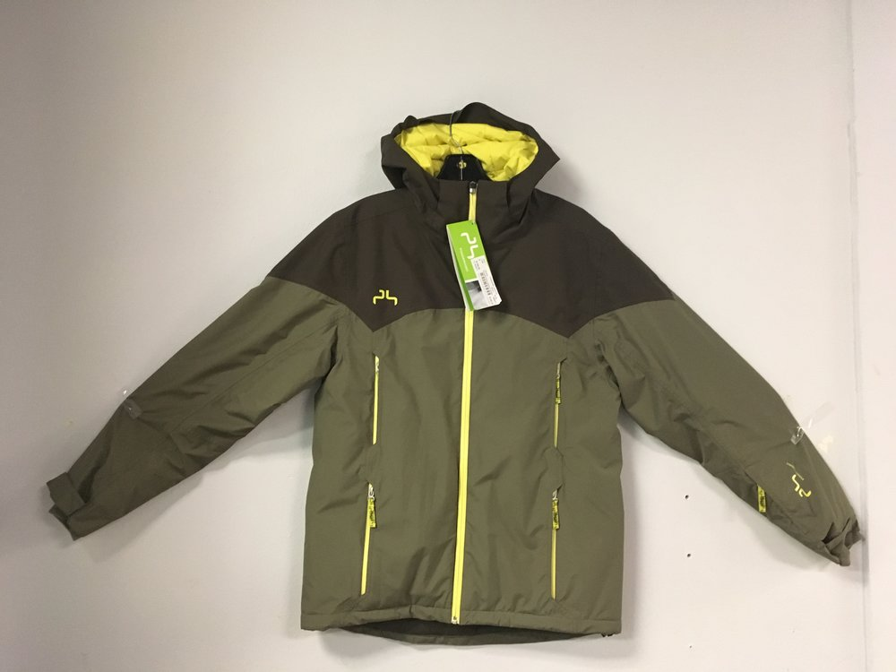 Stay warm out there with Powderhorn's hybrid down jacket! Featuring multiple vents and a powder skirt this jacket would be great for resort riding. Retail is listed around $300 but we have it priced at $149 and the size is a women's medium.