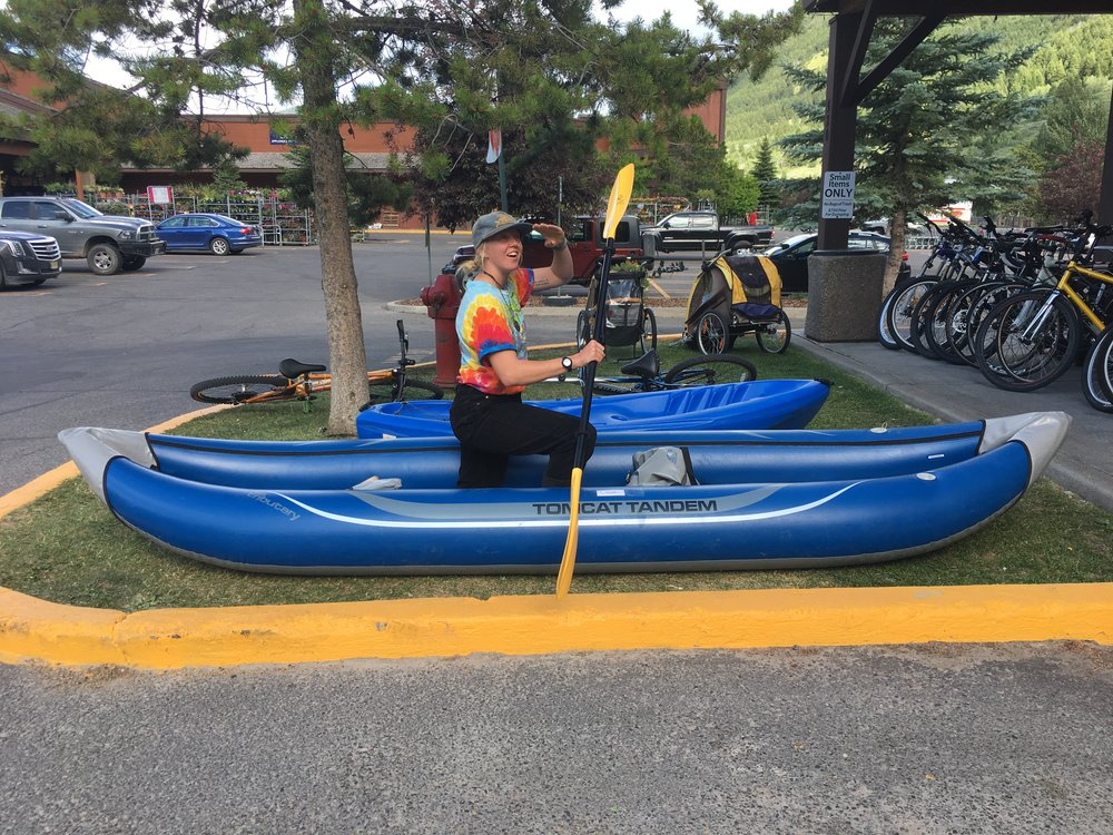 "Go together or go alone with AIRE Tomcat Tandem inflatable raft. The dimensions of the Tomcat are 12'9"" x 38.5"". Retail for the raft is listed anywhere from $800 - $1000 but can get you floating for $550!"