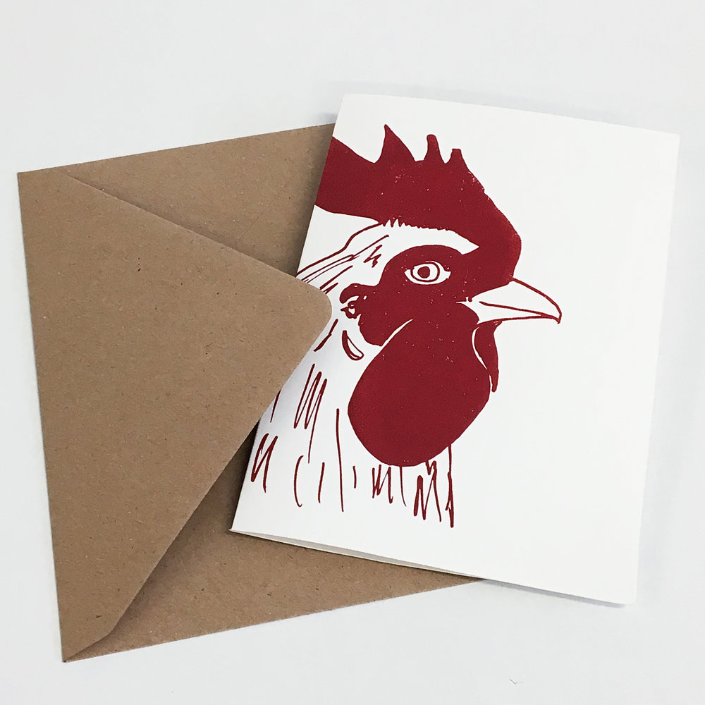 Jane Bain_Cockerel card_3_silkscreen print.jpg