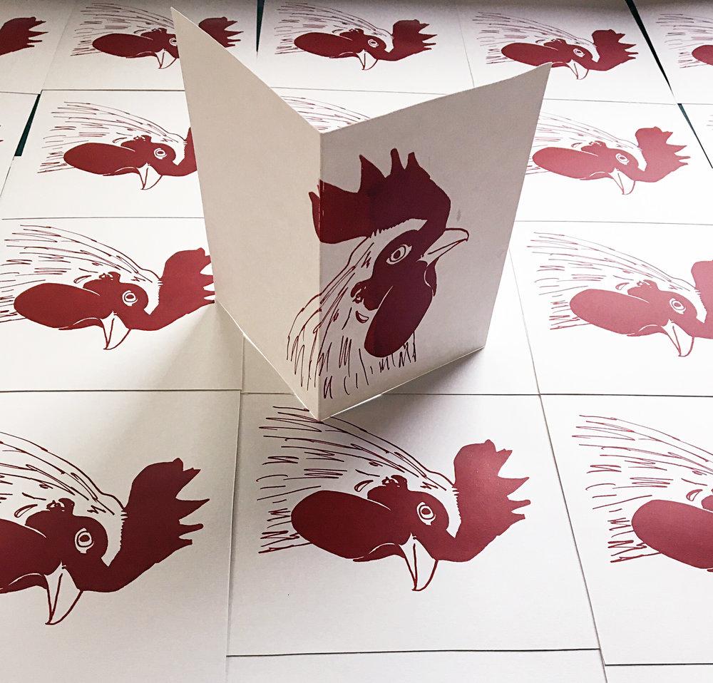 Jane Bain_Cockerel card_silkscreen print.jpg