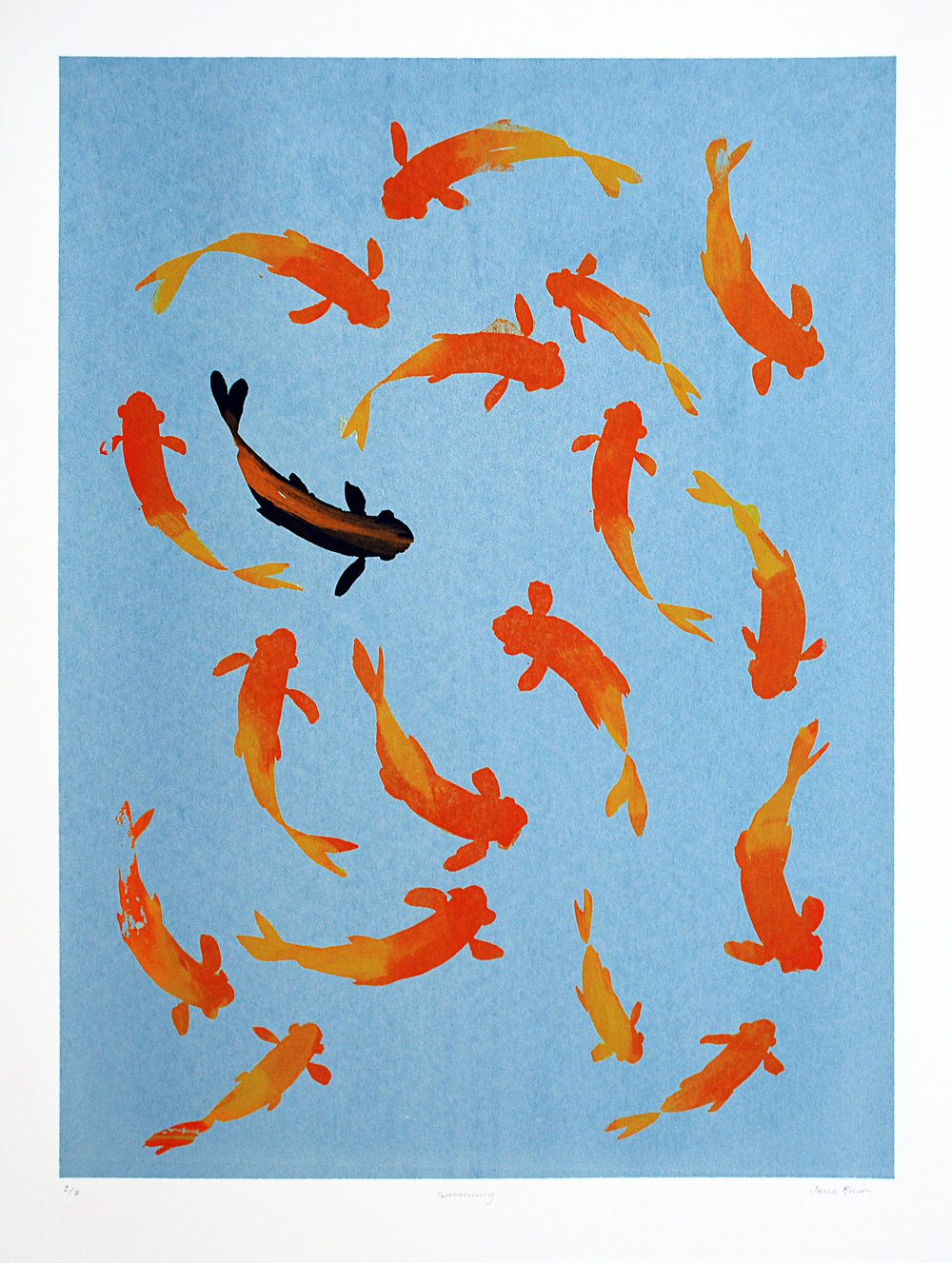 Goldfish blue Silkscreen print