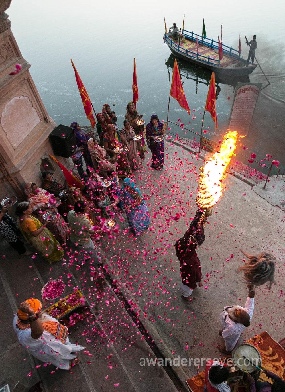 Yamuna Arti ceremony at sunset in Vrindavan, Uttar Pradesh.