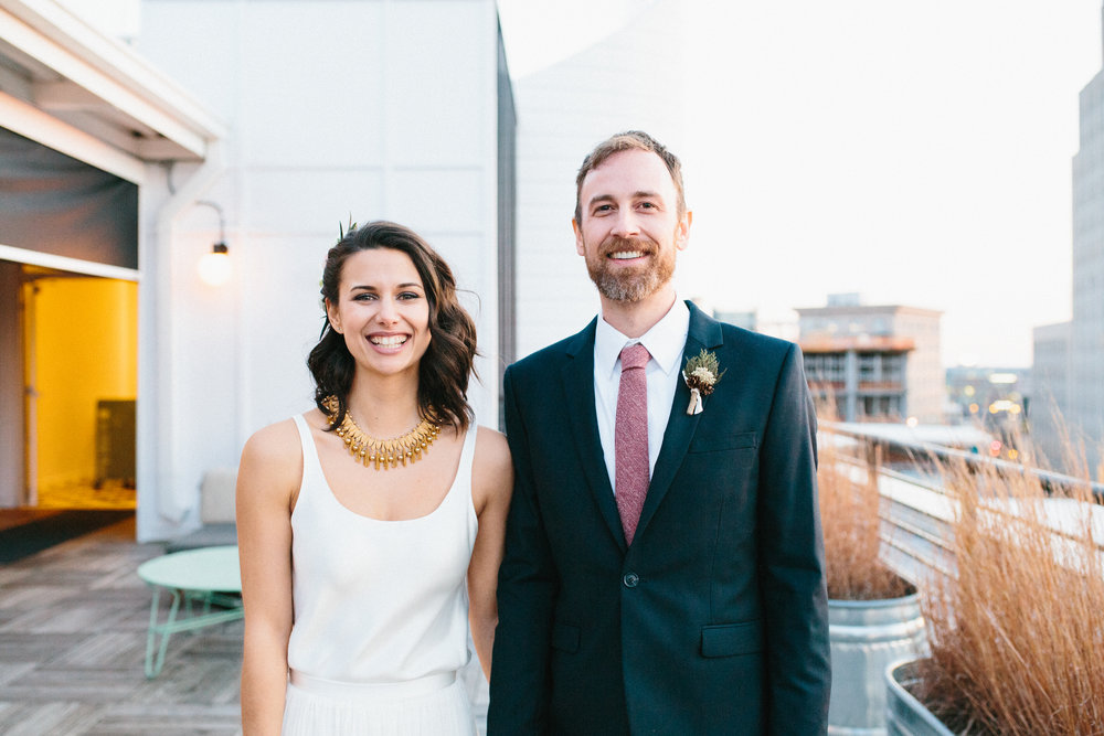 Claire + Bryan's Intimate Rooftop Wedding at The Durham | Durham, NC | wedding photographer | Merritt Chesson Photography