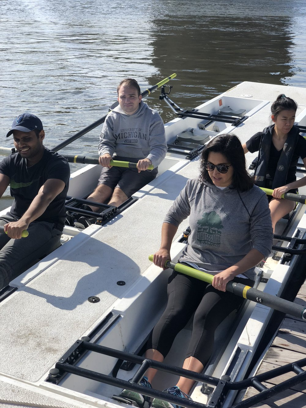 "Laknath during a ""Learn to Row"" session at Row New York's Manhattan boathouse."
