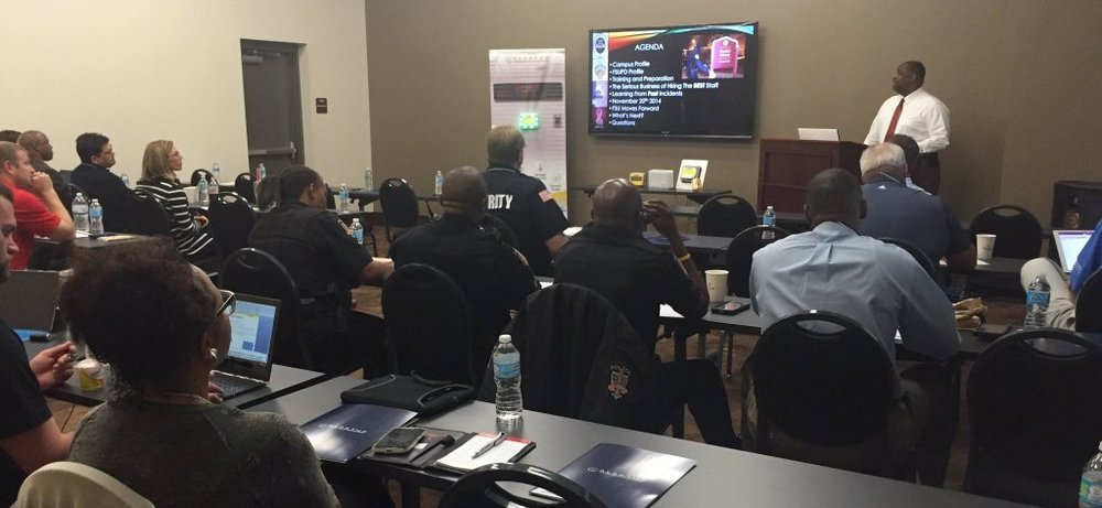 Keynote speaker David Perry, Assistance Vice President for Safety & chief of Police for FSU presenting at the Alertus Emergency Preparedness Seminar at FSU