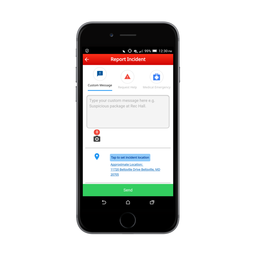 Mobile Panic Buttons allow users to quickly send incident reports to Emergency Management from wherever they are.