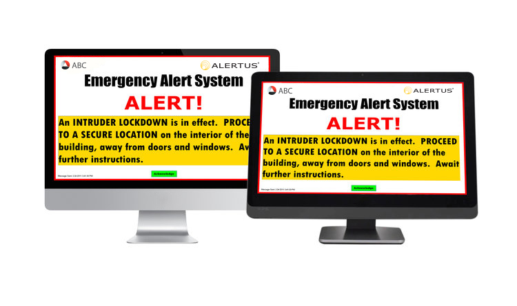 Desktop notification can customize the reach to either all or select devices in the event of an emergency.