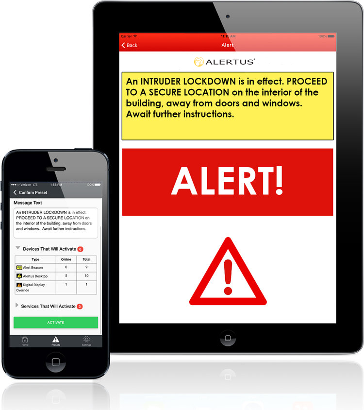 The Alertus Activator App allows users to quickly activate the Alertus System via Android or iOS tablets or smart phones. Launching an alert via the app activates notification alerts to all integrated products. Individuals who download the Alertus Recipient App can receive push notifications and quickly send geo-targeted incident reports to emergency management personnel.