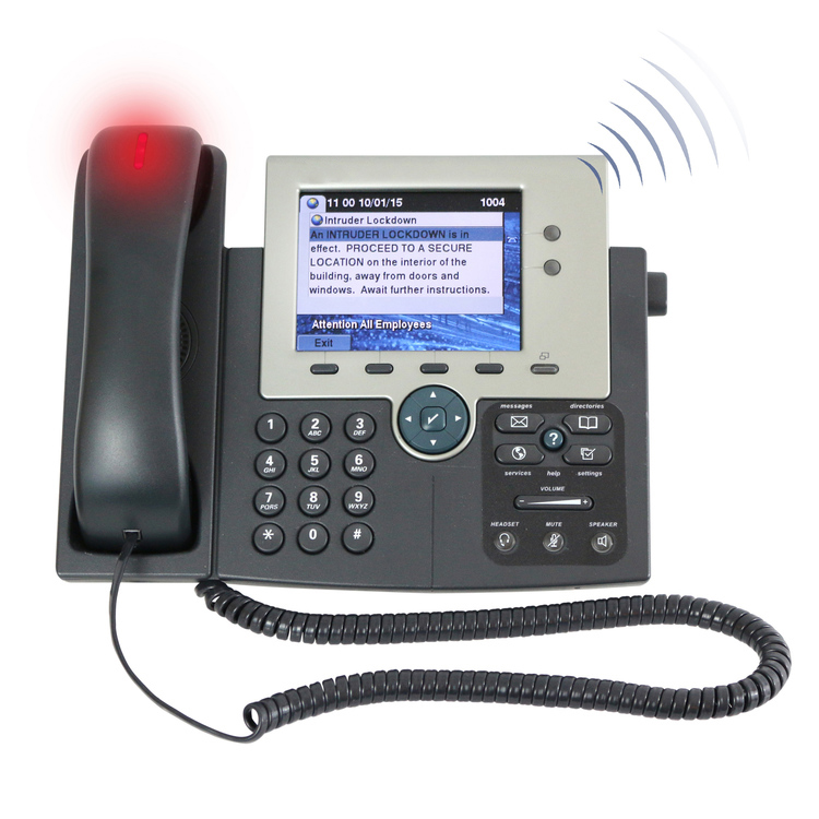 The Alertus VoIP Phone Notification solution transforms IP phones into a unified and secured emergency communication system. This innovative technology simultaneously activates audible/visual notifications on all or select supported VoIP or SIP phones and speakers