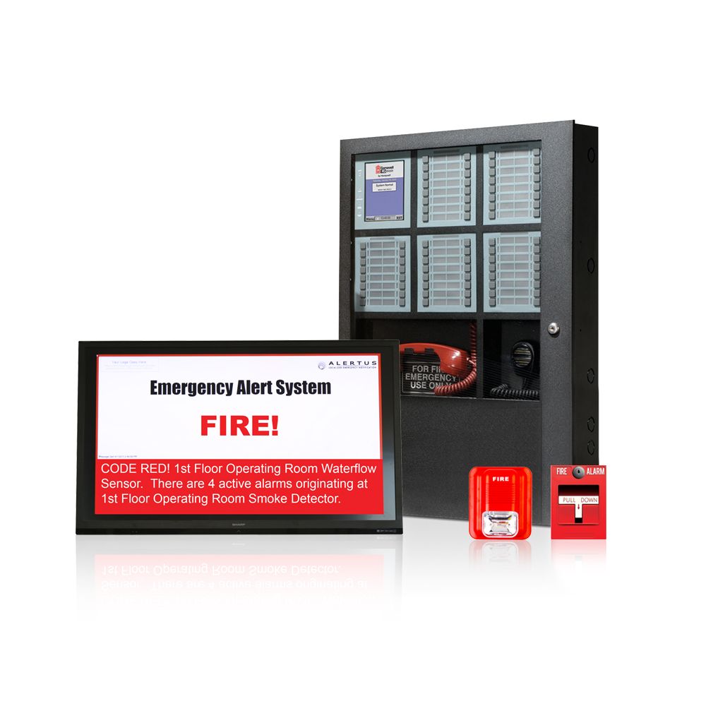 The   Alertus Fire Alarm Control Panel Interface   takes fire alarm event information from the fire panel, applies smart logic/transformation technologies, and broadcasts messages over multiple communication paths.