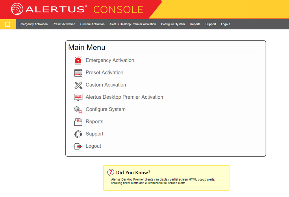 The new look of the Alertus Console