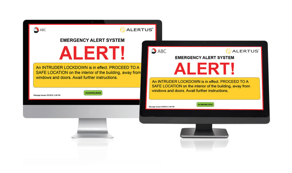 The   Alertus Desktop Notification     provides colleges and universities with another way to reach all or select members of the campus community in the event of an emergency.