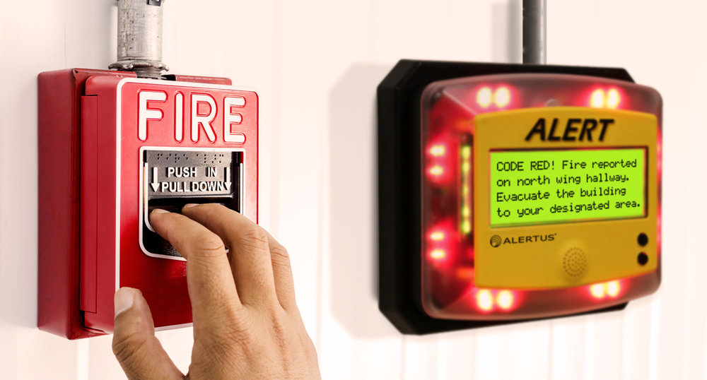 Alertus Fire Panel Interface   This innovative interface takes fire alarm event information from the fire panel, applies smart logic/transformation technologies, and broadcasts messages over multiple communication paths.