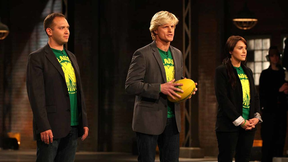 Co-Founders of XMovement (formerly Aussie X) Emile Studham (Centre) and Kaela Bree (Right) on Dragon's Den, CBC