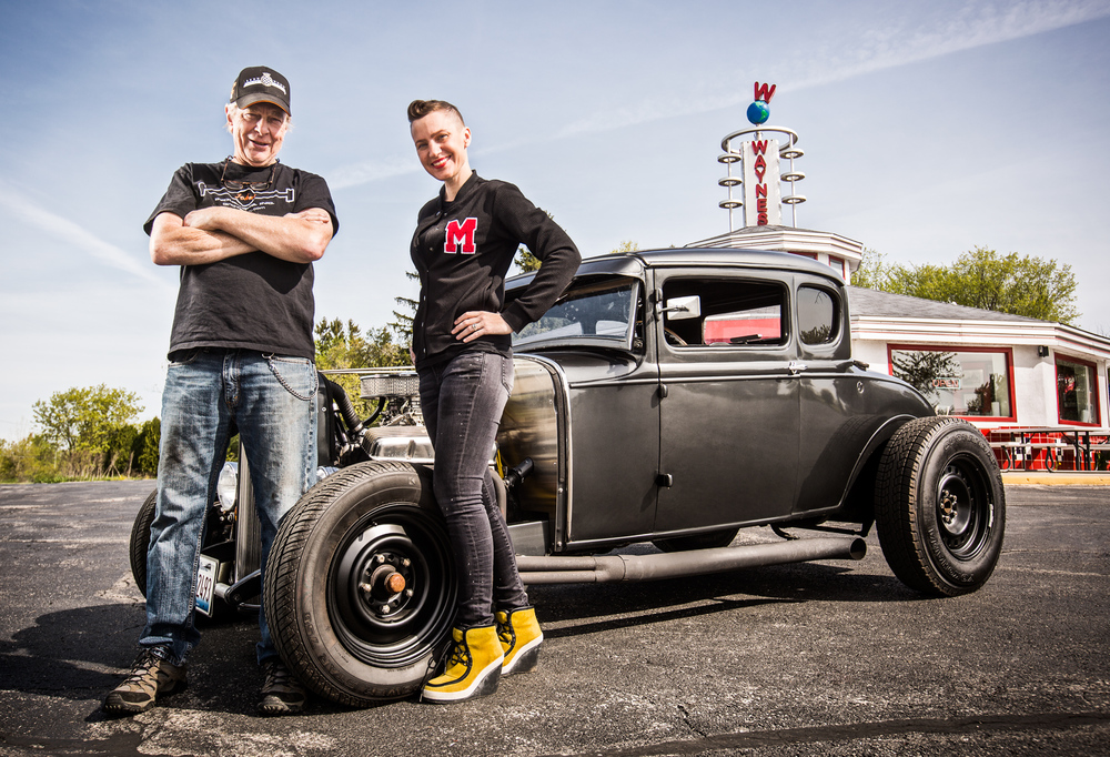Molly Curry and her father pose with their Model A hotrod in front of Wayne's Diner in Cedarburg, Wisconsin