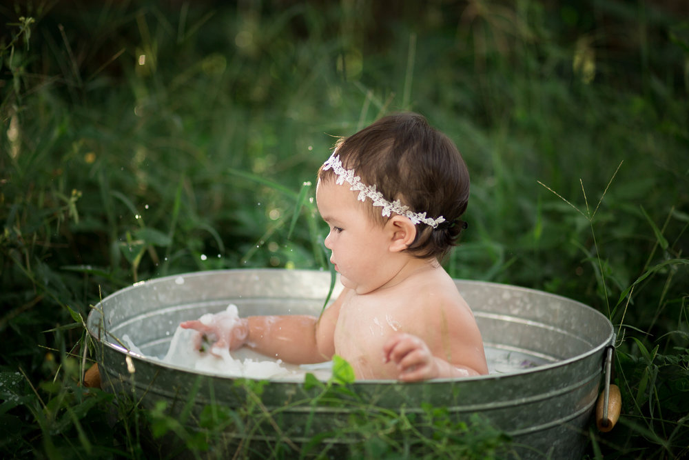 milk bath, baby session