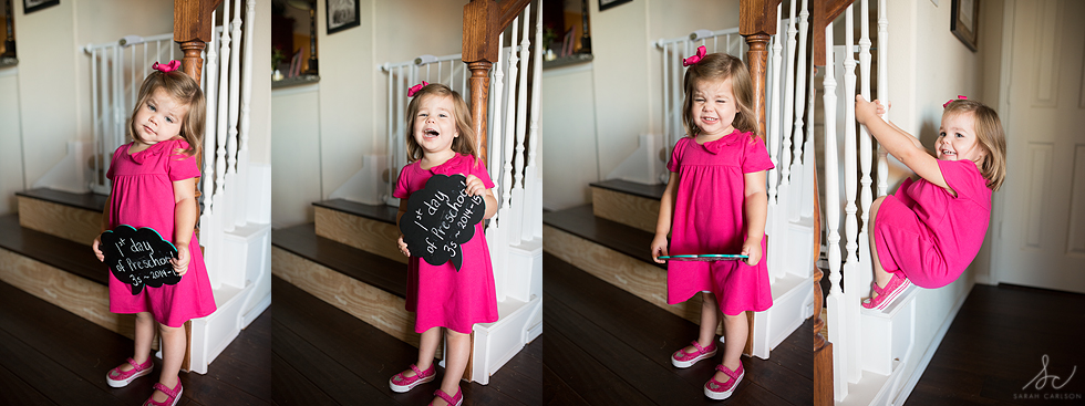 caroline's first day of preschool 3s