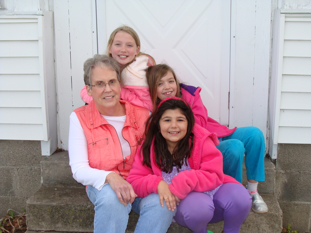My four favorite ladies! My mom surrounded by her granddaughters, Olivia, Braxton and Reese.