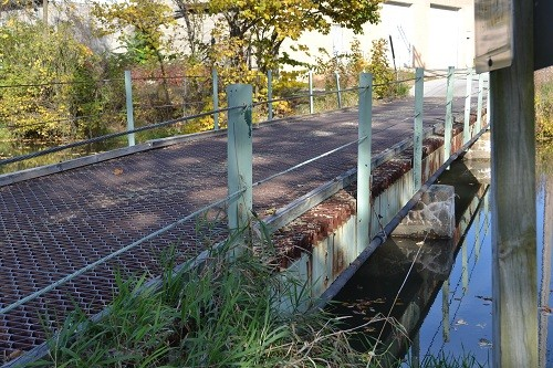 Waverly Avenue Bridge crosses the Millrace Canal near downtown Goshen, Indiana