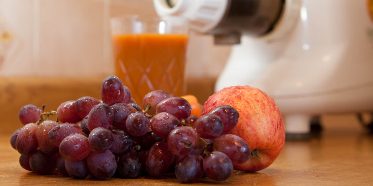 My breakfast juice - carrot, apple and grapes - my favourite.