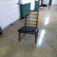 0097: Small Wood Chair (Leather Upholstery)