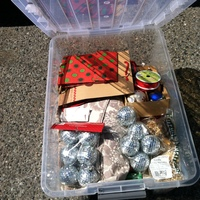 0303: Clear Plastic Box of Christmas Decorations