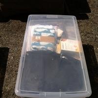 0309: Clear Plastic Bin of Baby Stuff