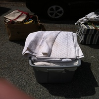0330: Large Grey Bin with Linens
