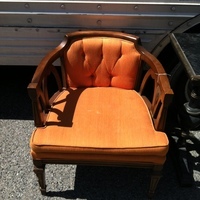 0297: Wood Armchair with Orange Upholstery