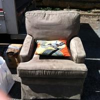 0300: Large Armchair (Tan) with Bird Pillow