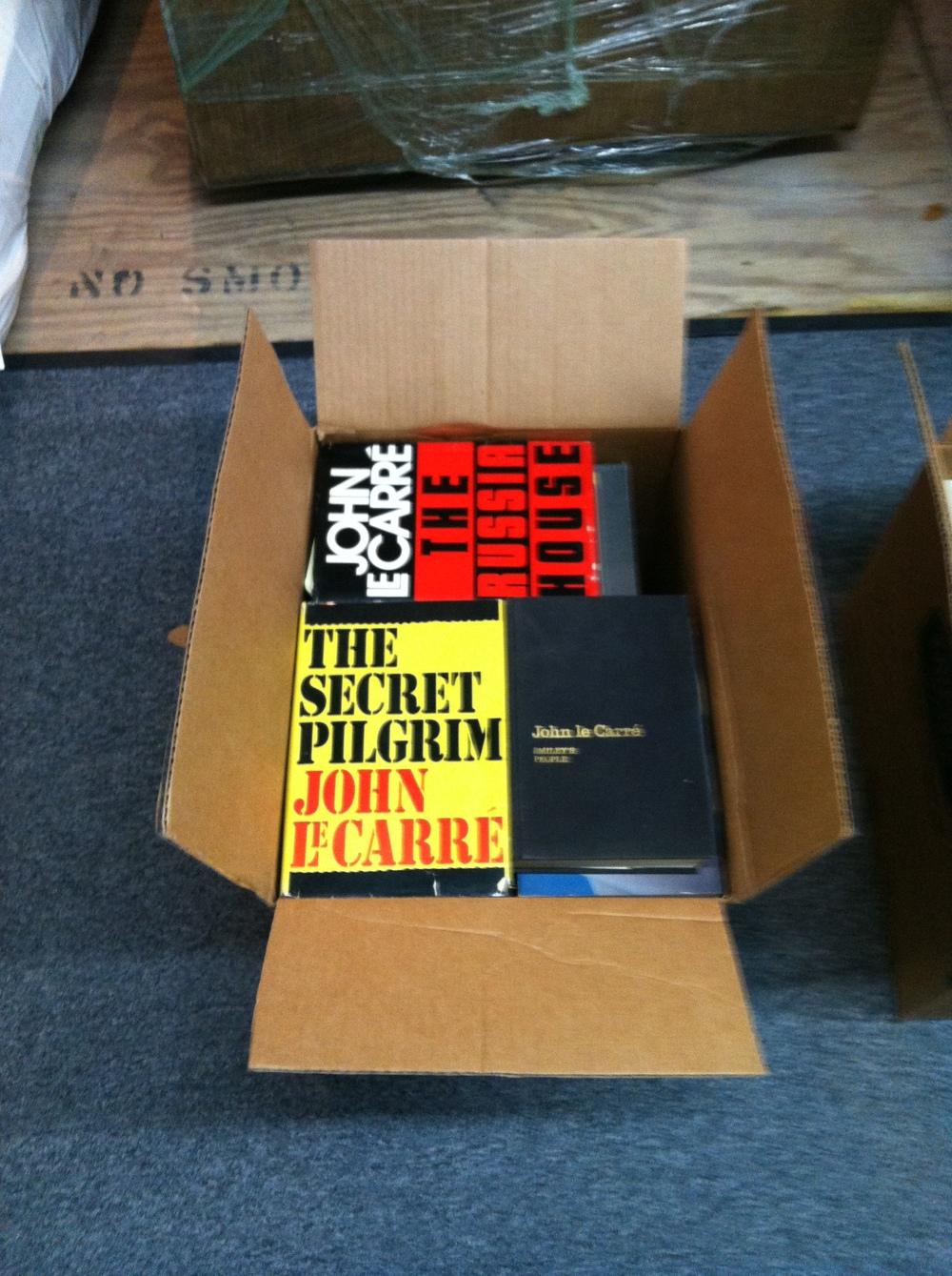 """0349: Box- John LeCarre Books; Marked """"Save Douglas"""""""