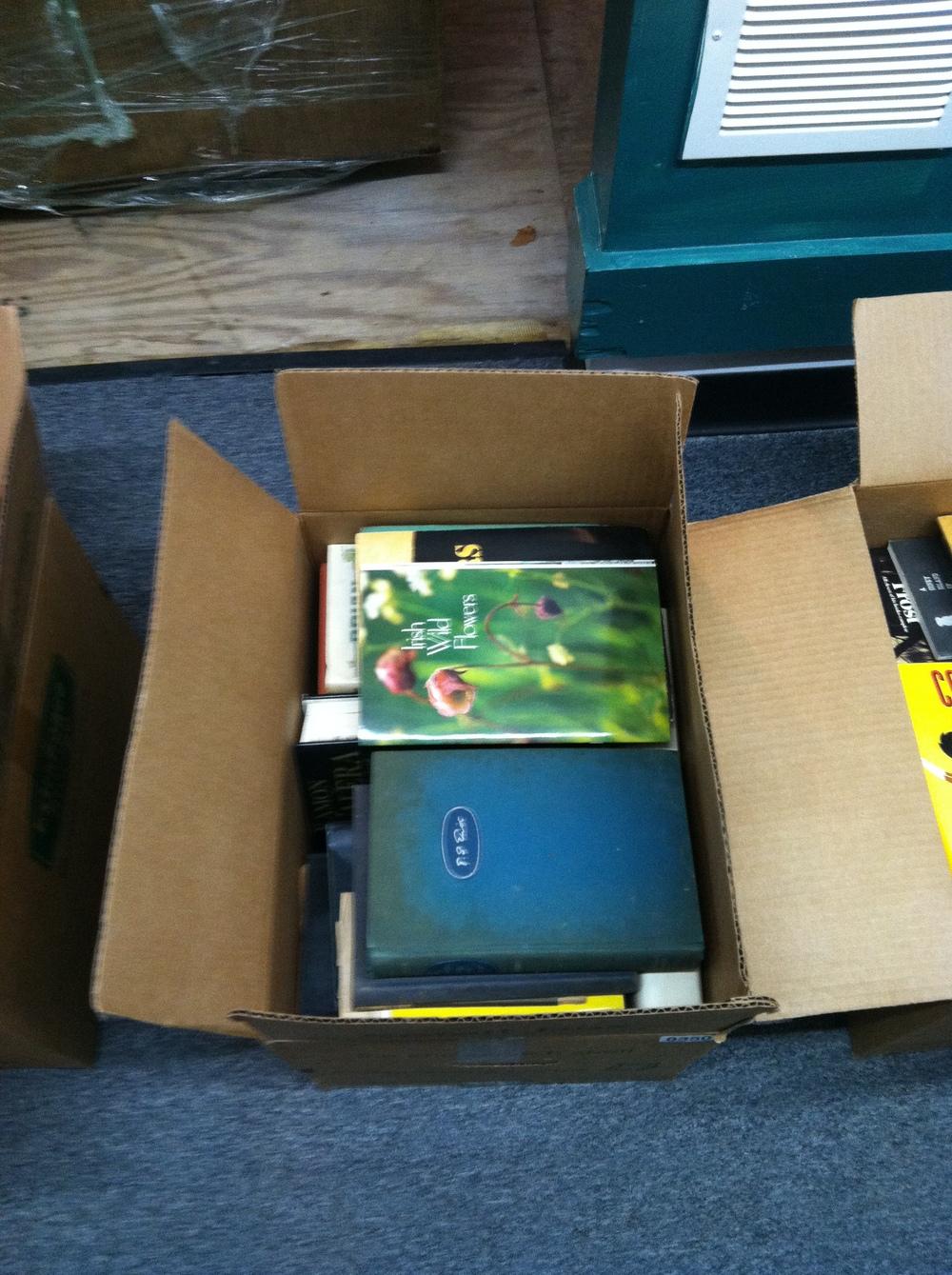 """0350: Box- Marked """"Irish Books"""""""