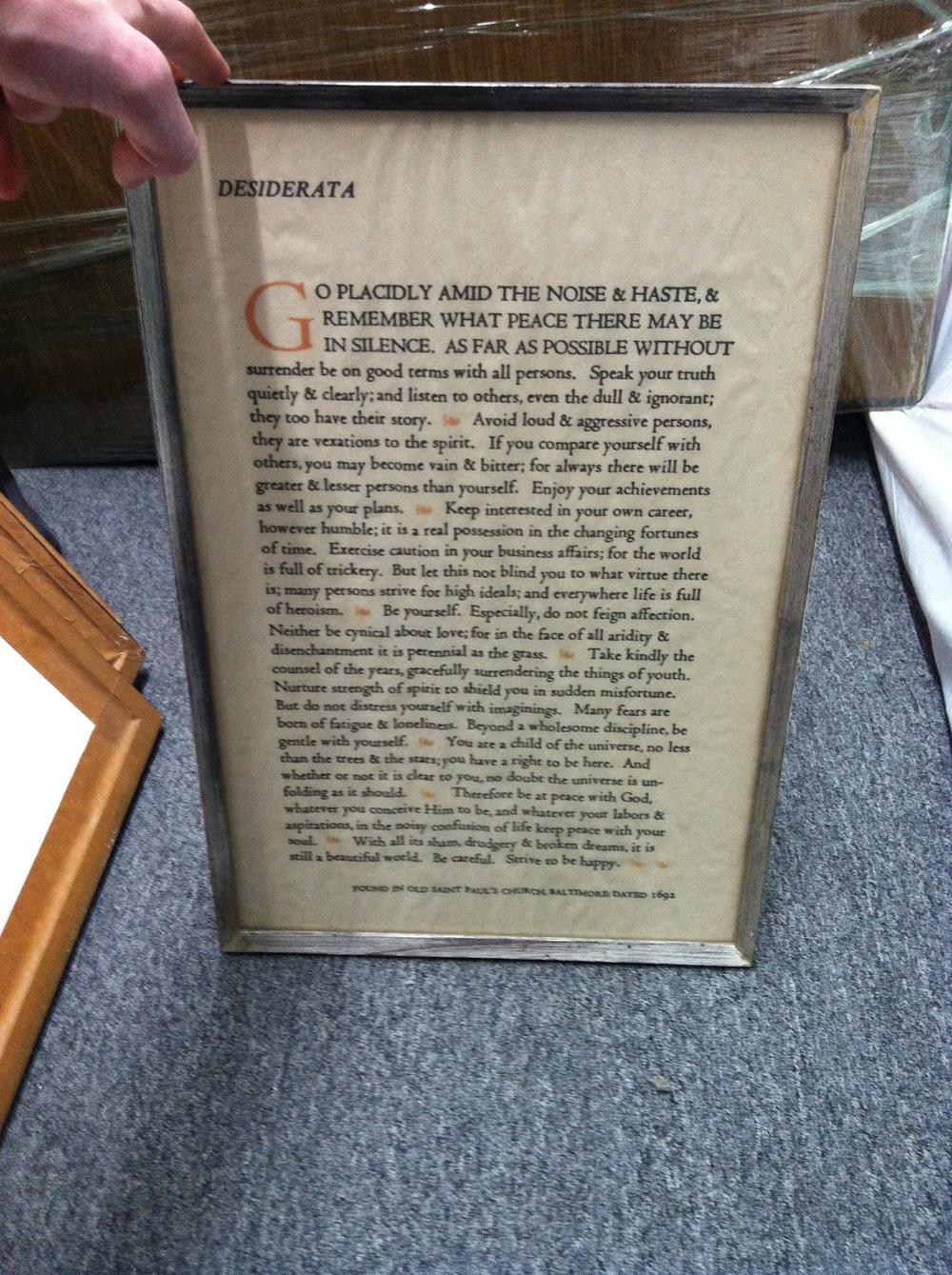 """0389: Picture- """"Desiderata, Found in St Paul's Church, Baltimore"""""""