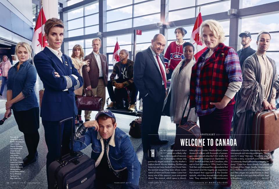 COME FROM AWAY cast as seen in Vanity Fair Magazine. February Issue 2017. Photo by: Mark Seliger