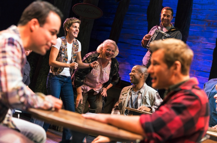 Come From Away on Broadway. Pictured: Caesar Samayoa, Jenn Colella, Astrid Van Wieren, Rodney Hicks, Ian Eisendrath and Chad Kimball. Photo by Matthew Murphy